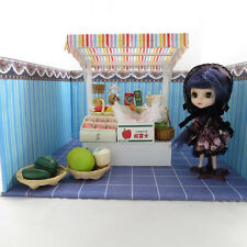 DOLLHOUSE MINIATURE STREET VENDER KIT: BOOTH AND MANY GROCERIES, FRUITS