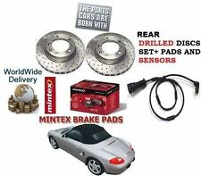 FOR PORSCHE BOXSTER 986 987 1999-  REAR DRILLED BRAKE DISC SET & PAD KIT+ SENSOR