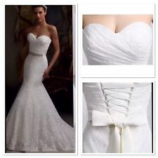 New White/Ivory Mermaid Lace Wedding Dress Bridal Gown Size 6-16 UK