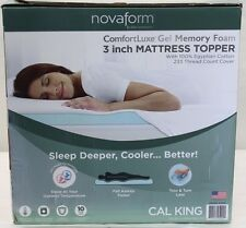 "*NIOB* NovaForm 3"" Comfortluxe Gel Memory Foam Mattress Topper Cal King w/Cover"