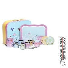 BUTTERFLY CHARMING TIN TEA SET 18 PIECES toy girls childs gift novelty childs