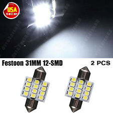 2X Pure White Festoon 31MM 12-SMD LED Car Dome Light lamp Bulbs 3021 6428 DE3175