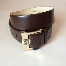 Anne Klein Brown Leather Belt w/ Lion's Head Logo Size  S NWT $38
