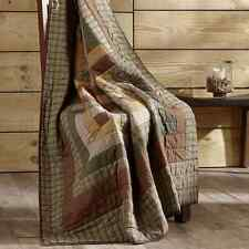 TALLMADGE COLLECTION QUILTED THROW BLANKET LOG CABIN BLOCK GREEN BROWNS