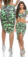 Army military print skirt green or yellow one size 8 10 12 high low effect
