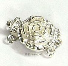 1x STERLING SILVER Rose 3 STRAND Pearl Box  CLASP 12mm