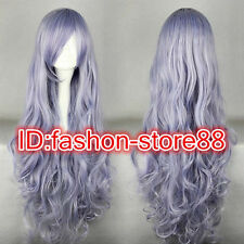 Long Rozen Maiden Wavy Light Purple Anime Cosplay Costume Wig + Free wig cap