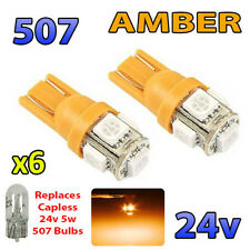6 x AMBER 24v Capless Marker Light 505 501 W3W 5 SMD T10 Wedge Bulbs HGV Truck