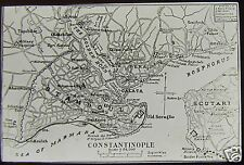 Glass Magic Lantern Slide MAP OF ISTANBUL C1900 TURKEY TURKISH