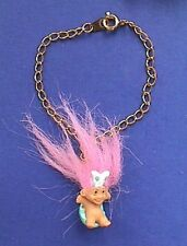 Easter BRACELET Vintage TROLL in BUNNY EARS on EGG Doll Holiday WISHNIC Jewelry
