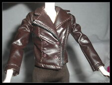 JACKET BARBIE TWILIGHT BELLA DOLL BROWN FAUX LEATHER JACKET CLOTHING ITEM 2686