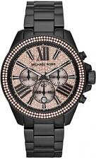 Michael Kors MK5879 Wren Black Rose Chronograph Women Glitz Stainless Watch