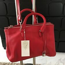 ZARA Ref.8058/304 Red Real Leather City Bag  Shoulder Strap Key Lock  BNWT