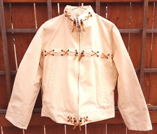 VTG Roper-Rodeo Blue Jacket-Lined-M-Off White-Mens-Zip Up-Canvas Leather Wood