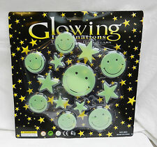Glowing imaginations-glow in the dark autocollants-party pack-smileys & stars