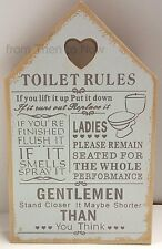 TOILET RULES PLAQUE WOODEN SIGN RUSTIC SHABBY CHIC -UNIQUE GIFT