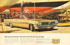 1960 Classic Car AD New '61 PONTIAC BONNEVILLE Convertable Auto Art AF VK 041015
