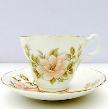 Vintage Royal Stuart Bone China Tea Cup Saucer Peach Floral