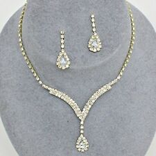 Formal Prom Wedding Pageant Gold Clear Crystal Pear Luxury Costume Necklace Set