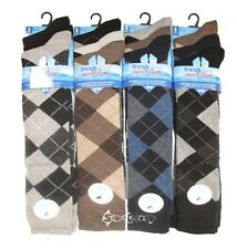 6 Pairs Mens Long Argyle Golf Socks Knee Length Shoe Size 6-11 Diamond Design