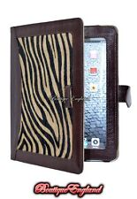 iPAD 2 3 & 4 BROWN & ZEBRA SKIN FUR Luxury Real Genuine Leather Cover Case Stand