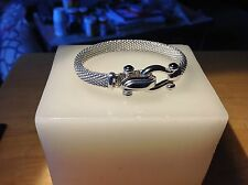 Sterling Silver over Brass Mesh Equestrian Bit Clasp w/ 4 Black Onyx cabochon Br
