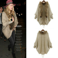 Women Knitted Loose Sweater Oversized Batwing Sleeve Tops Cardigan Outwear Coat