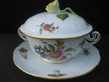 Herend Porcelain Hand Painted Soup Bowl, Stand & Lid. Flowers and Fruit. BFR