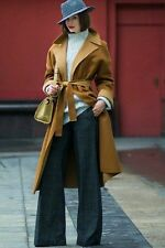 NEW ZARA WOMAN CAMEL AND CARAMEL HAND MADE MAXI WOOL Two-tone COAT Size Small