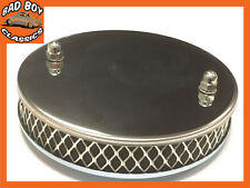 "Chrome Finish Stainless Steel Pancake Sports Air Filter SU 1 3/4"" HS6"
