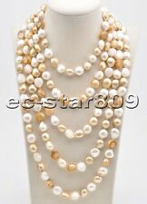 """P6440 Long 100"""" 15mm Yellow White Baroque Freshwater Pearl Necklace"""