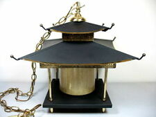 Vintage Chinoiserie English Regency Tole Pagoda Japanese Lantern Chandelier Lamp