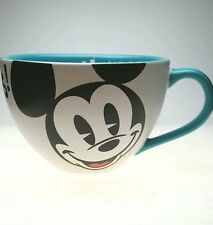 Disney Store Mickey Mouse Coffee Mug Cup Soup Bowl 18 oz. White Teal Blue Large