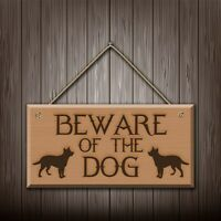Beware Of The Dog - Engraved wooden wall plaque/sign