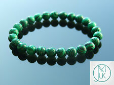 Malachite Manmade Gemstone Bracelet 7-8'' Elasticated