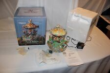 Vintage Enesco Animated Lighted Carousel Music Box Melody Meadow Mushroom Mice