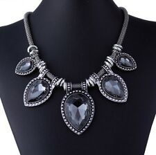 Black Graphite Crystal Vintage Statement Metal Chain Pear Stone Shape Necklace
