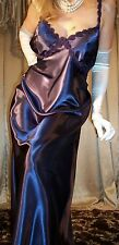 Glossy Purple Plum Long Satin Bias Top Slip Long Nightgown Lingerie 1X 42 44