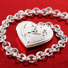 AN731 GENUINE REAL 925 STERLING SILVER S/F LADIES HEART CHARM BRACELET BANGLE