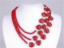 """charming 3Rows Red Ruby Round & Heart Beads Jewelry Necklace 17-21"""" AA"""