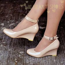 Ladies Womens Patent Ankle strap Wedges Casual Comfy Shoe Low heel uk size 30407