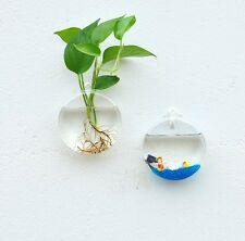 Set of 2 Wall Hanging Planters Glass Plant Containers Water Plant Terrariums