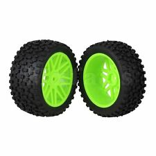 4xGreen 16 Spoke Wheel Rims+H Type Rubber Tires Tyres fit RC1:10 Off Road Car