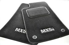 Mazda MX5 MK1 & MK2 Tailored Footwell Mats with Kick Pad - Silver Stitching *...