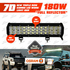 2pcs Osram 180W 3 Rows 12inch LED Combo Work Light Bar Offroad Driving Lamp SUV