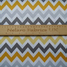1/2 YARD Remix grey and yellow retro chevron fabric by Robert Kaufman
