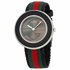 New Gucci U-Play Grey GG Dial Tri-Color Nylon Strap Women's Watch YA129444