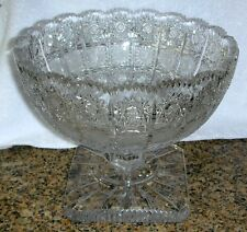 Bohemia Crystal QUEEN LACE Hand Cut Footed Compote Punch Bowl Bohemian Czech