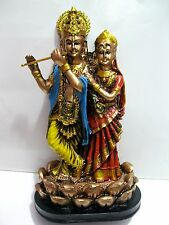 "8"" Indian Hand Carved Krishna Radha Resin Idol Sculpture India Statue - RK102"