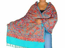 Aruba Blue Kashmir Embroidery Wool Dress Wrap Shawl Stylish Fashion Scarf 80""